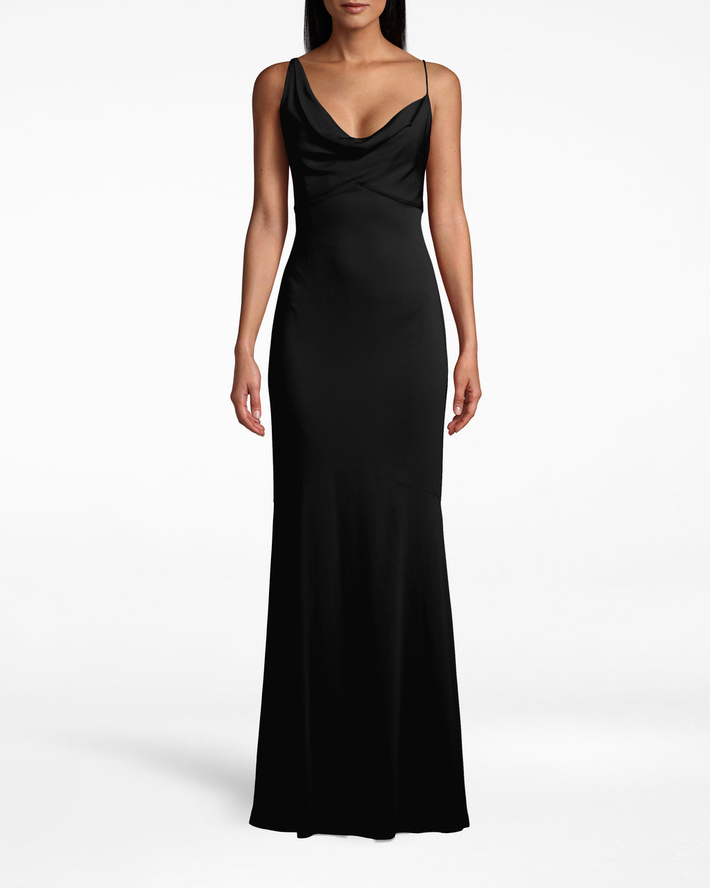 CC10040 - NEW STRETCH CREPE ASYMMETRIC COWL NECK GOWN - dresses - long - THIS STUNNING GOWN HAS A TEXTURAL COWL NECK AND FLOOR LENGTH HEM. TWO DIFFERENT STRAPS ADD A SURPRISING BUT CHIC ELEMENT. Add 1 line break STYLIST TIP: WEAR WITH DAINTY GOLD JEWELRY AND CARRY A FUN CLUTCH.