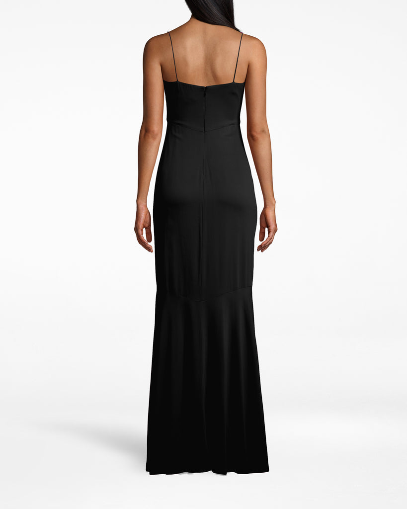 CC10040 - NEW STRETCH CREPE ASYMMETRIC COWL NECK GOWN - dresses - long - THIS STUNNING GOWN HAS A TEXTURAL COWL NECK AND FLOOR LENGTH HEM. TWO DIFFERENT STRAPS ADD A SURPRISING BUT CHIC ELEMENT. Add 1 line break STYLIST TIP: WEAR WITH DAINTY GOLD JEWELRY AND CARRY A FUN CLUTCH. Alternate View