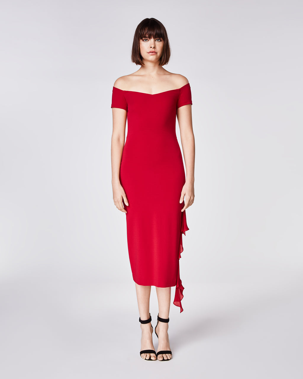CC10147 - STRUCTURED HEAVY JERSEY OFF SHoulder dress - dresses - midi - In a fitted, off the shoulder silhouette this midi dress features a side slit and ruffle accent. Fully lined. Final Sale