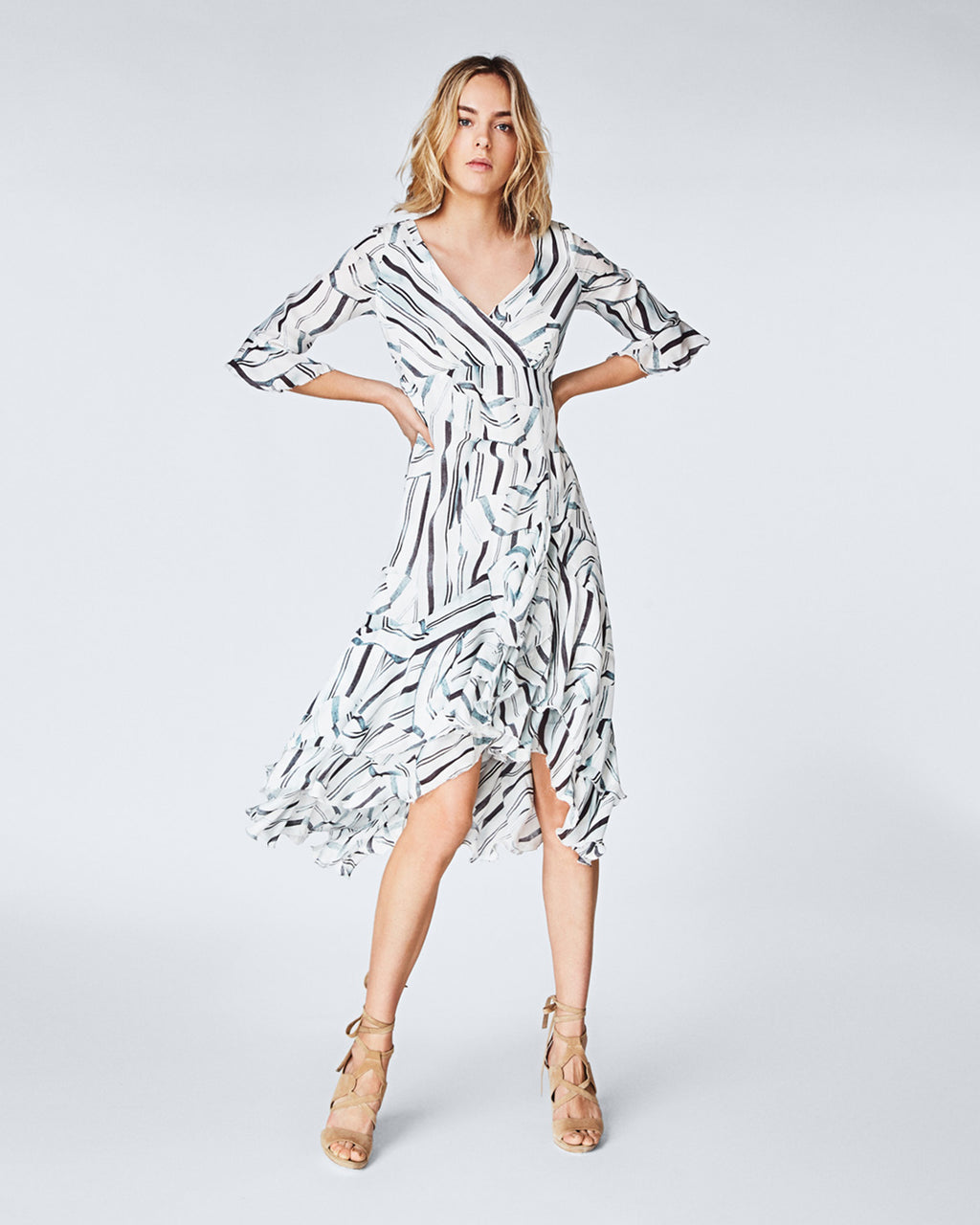 CC10176 - ruffle slit dress - dresses - short - A crisp white and contrasting blues, this silk dress is perfect for any summer occasion. With a faux wrap silhouette and flutter sleeves, this midi dress flows in to a ruffled high-low hem. Finished with a concealed zipper for closure and fully lined. Final Sale