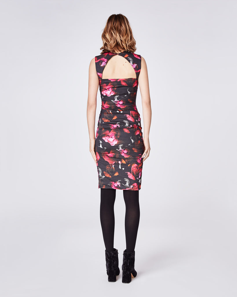 CC10185 - FRAGMENT FLORAL FELICITY DRESS - dresses - short - The felcity ruched side dress is a favorite and flatters all body types. The floral print is perfect for your holiday parties. Alternate View