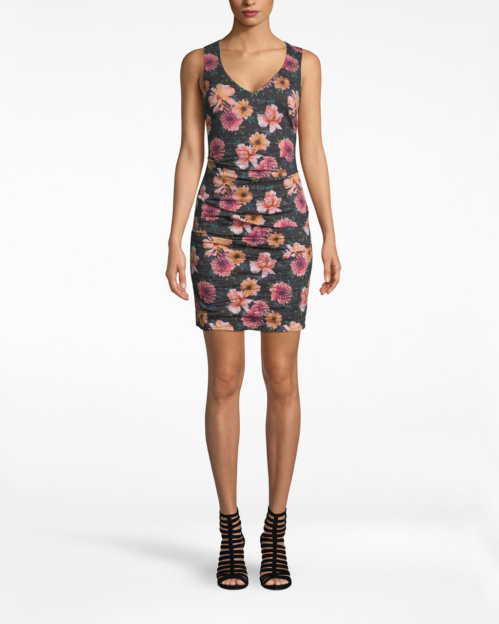 CC10198 - DAHLIA BLOOM COTTON METAL RACERBACK DRESS - dresses - short - Catch that back? This racerback, ruched dress balances a feminine print with a sleek silhouette. Pair with cool booties. Exposed back zipper, lined.
