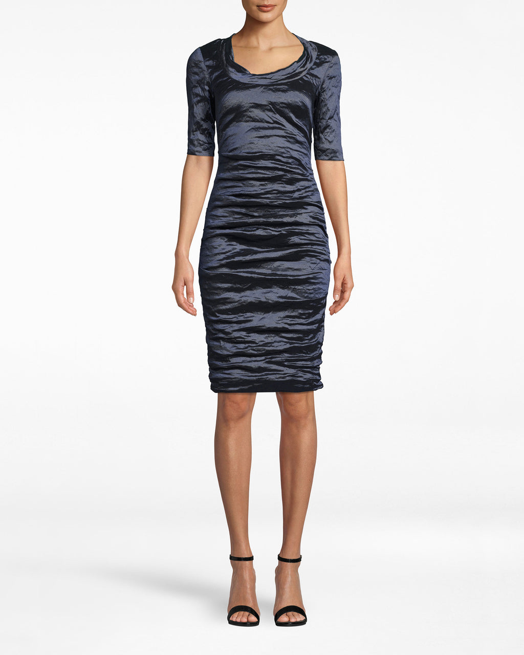 CC10200 - TECHNO METAL SCOOP NECK TUCK DRESS - dresses - short - Our Techno Metal elevates. On this dress, it adds a funky twist to the scoop neck, 3/4 sleeve form. Exposed back zipper for closure.