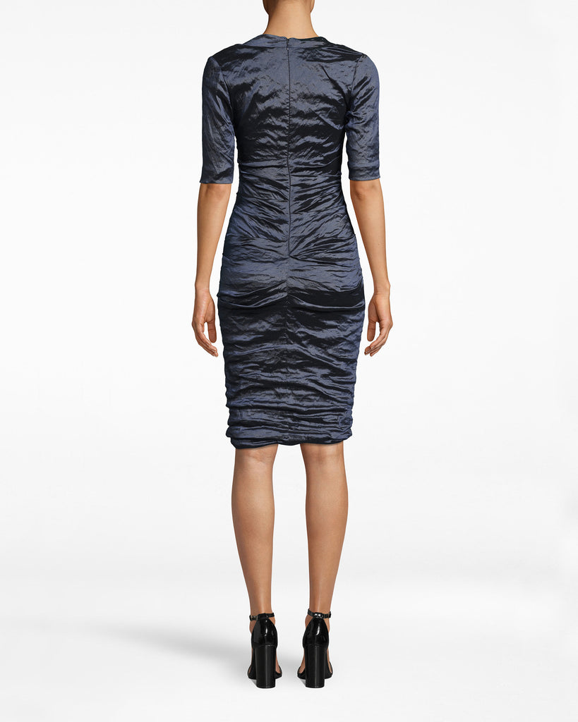 CC10200 - TECHNO METAL SCOOP NECK TUCK DRESS - dresses - short - Our Techno Metal elevates. On this dress, it adds a funky twist to the scoop neck, 3/4 sleeve form. Exposed back zipper for closure. Alternate View