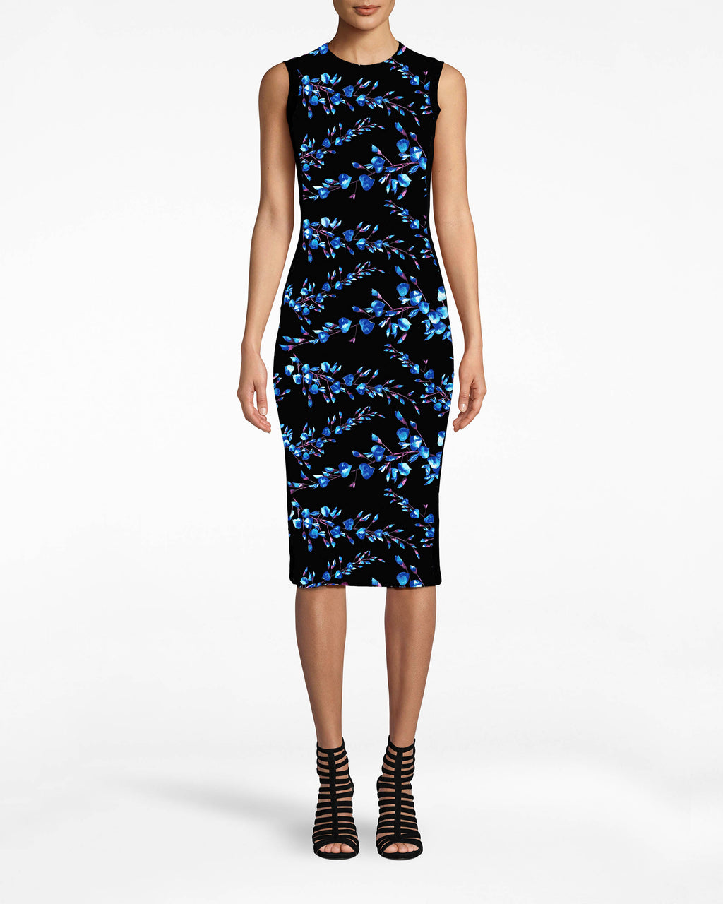 CC10202 - BLOSSOM COTTON METAL SHEATH DRESS - dresses - midi - How do you step-up staples? Here's a way: this flowery Cotton Metal dress has unexpected jersey banding and a sexy fit.