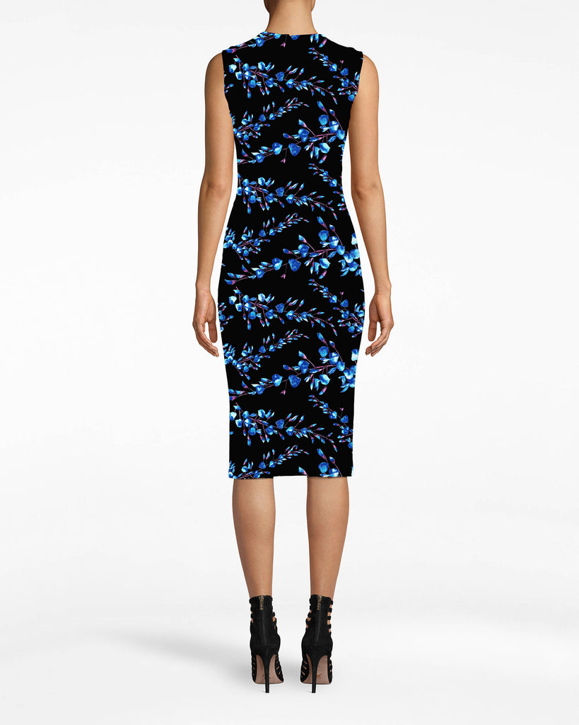 CC10202 - BLOSSOM COTTON METAL SHEATH DRESS - dresses - midi - How do you step-up staples? Here's a way: this flowery Cotton Metal dress has unexpected jersey banding and a sexy fit. Alternate View