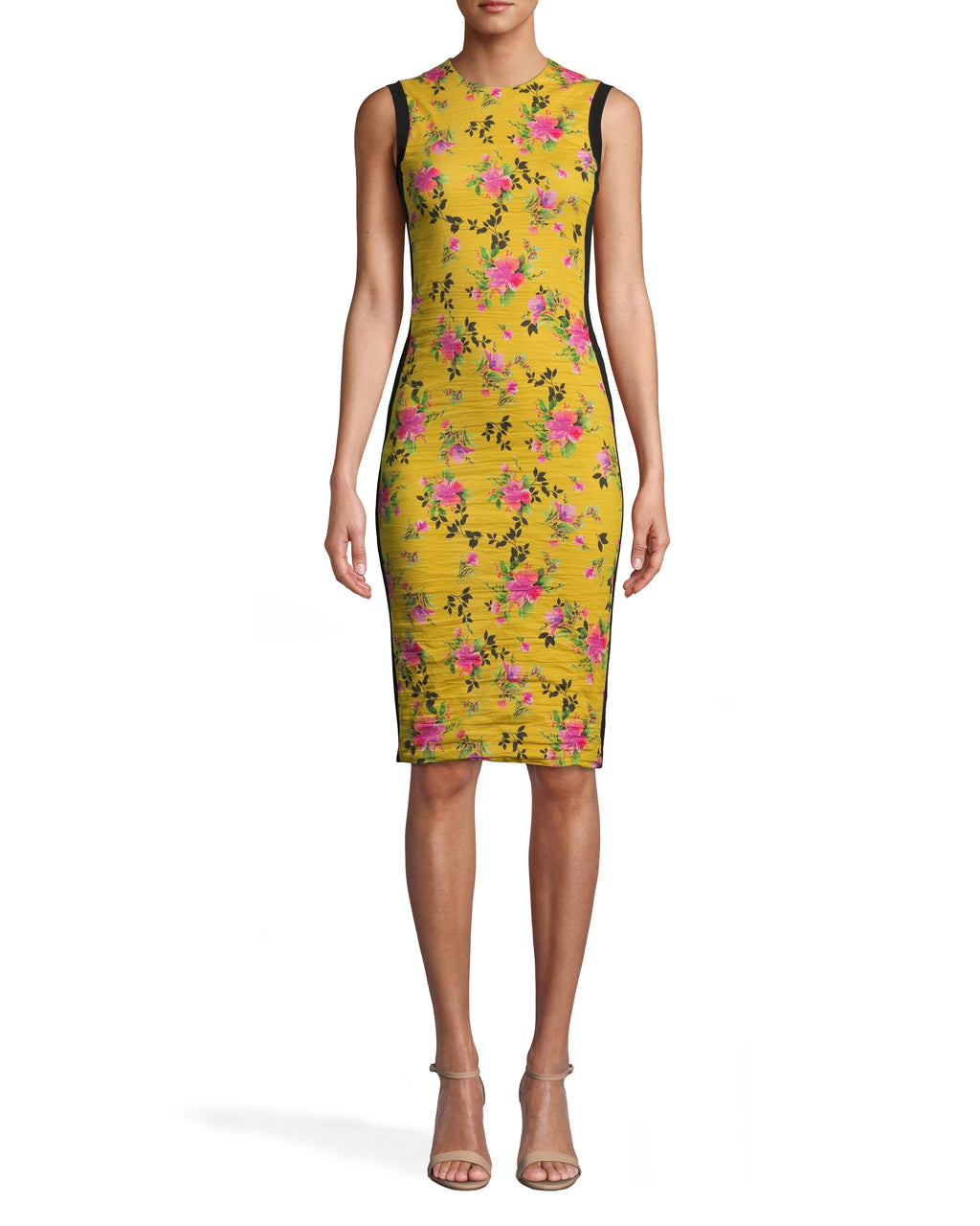 CC10205 - LOTUS LIFE COMBO SHEATH DRESS - dresses - short - OUR VIBRANT LOTUS LIFE PRINT ELEVATES THIS TIMELESS SILHOUETTE. THIS HIGH NECK PIECE HAS A KNEE LENGTH HEMLINE AND PONTE DETAILING ALONG THE SIDES. OUR SIGNATURE COTTON METAL SHOWCASES YOUR FIGURE. Add 1 line break STYLIST TIP: WEAR WITH SIMPLE SHOES A ND GOLD HOOPS.