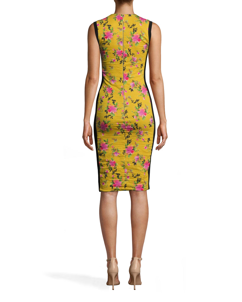 CC10205 - LOTUS LIFE COMBO SHEATH DRESS - dresses - short - OUR VIBRANT LOTUS LIFE PRINT ELEVATES THIS TIMELESS SILHOUETTE. THIS HIGH NECK PIECE HAS A KNEE LENGTH HEMLINE AND PONTE DETAILING ALONG THE SIDES. OUR SIGNATURE COTTON METAL SHOWCASES YOUR FIGURE. Add 1 line break STYLIST TIP: WEAR WITH SIMPLE SHOES A ND GOLD HOOPS. Alternate View