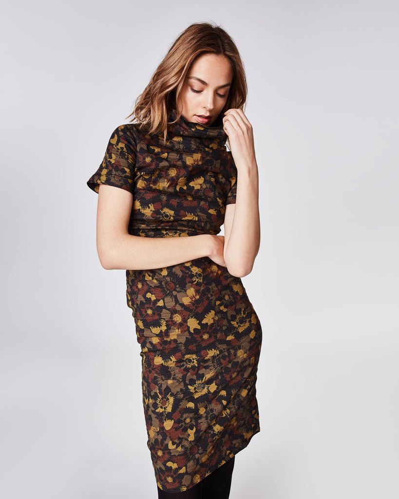 CD10071 - FLOWER CAMO HIGH NECK DRESS - dresses - midi - In our famous cotton metal, this fitted midi dressfeatures a mock neck and concealed zipper for closure. Fully lined. Alternate View