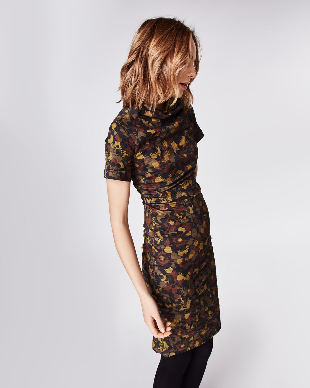 CD10071 - FLOWER CAMO HIGH NECK DRESS - dresses - short - In our famous cotton metal, this fitted midi dressfeatures a mock neck and concealed zipper for closure. Fully lined.