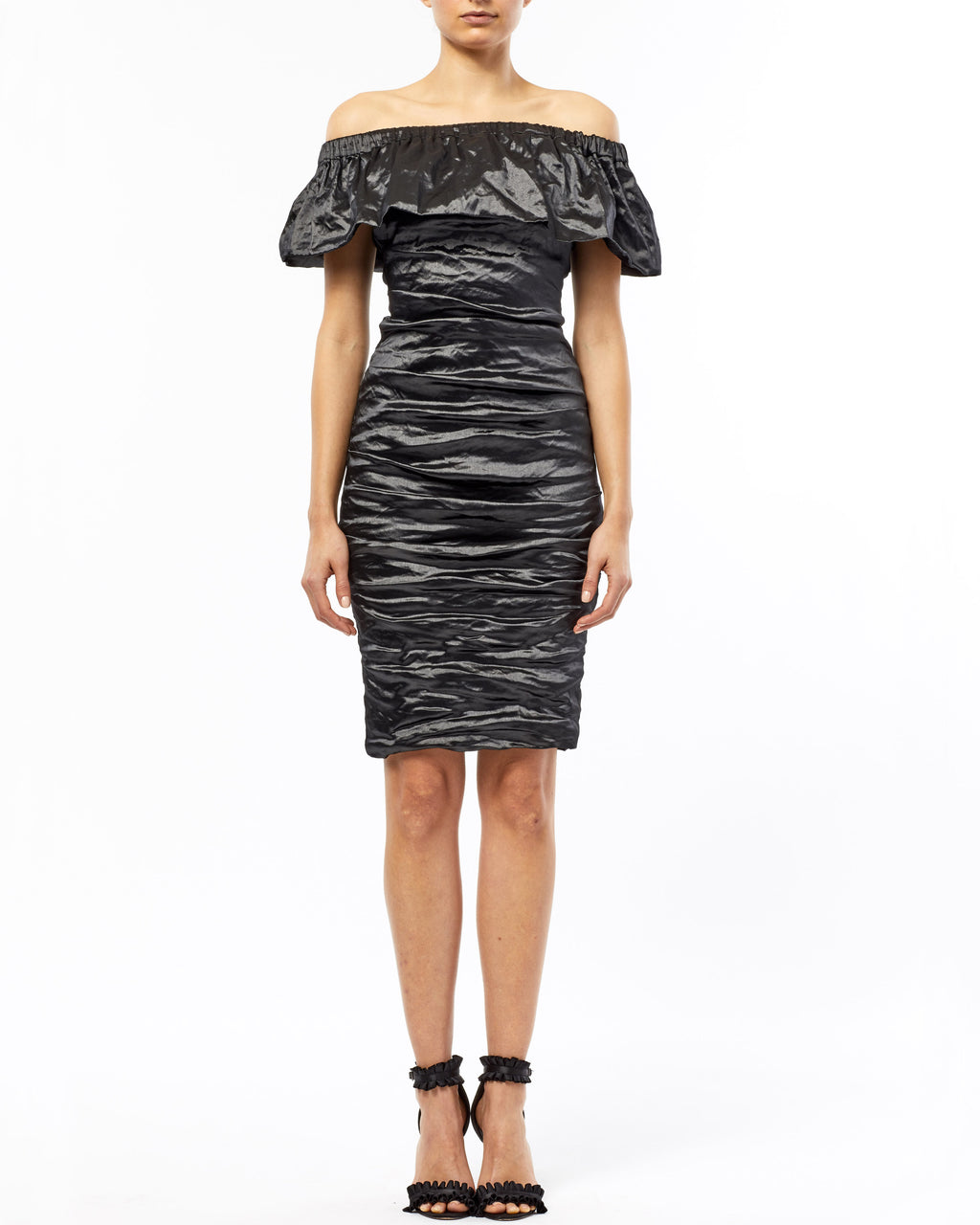 CD10073 - TECHNO METAL OFF SHOULDER RUCHED DRESS - samples - dresses - Techno metal meets office party. This off the shoulder dress emanates a queenly attitude: the cinched waist and ruched fabric are reigning details. Back zipper for closure. Final Sale