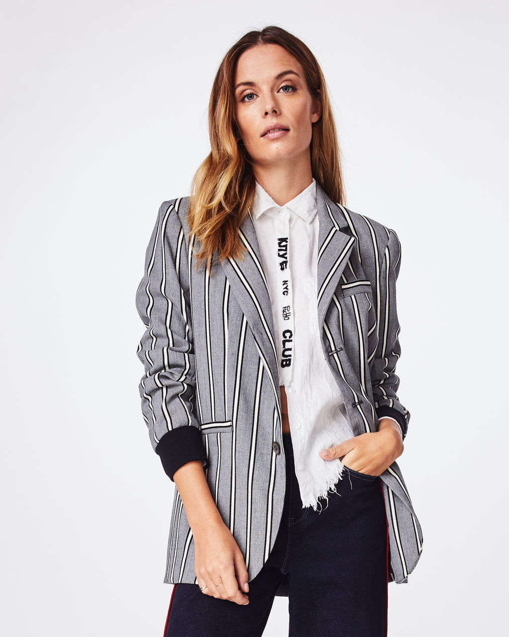 CD10083 - STRETCH WOVEN STRIPE BOYFRIEND JACKET - outerwear - jackets - This boyfriend jacket is the menswear inspired moment your wardrobe needs this season. A little oversized with a little stretch, this jacket features front pockets, ribbed cuffs, and is fully lined.