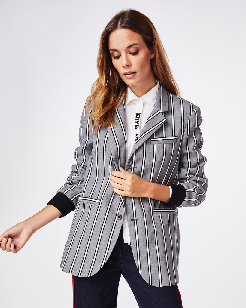 CD10083 - STRETCH WOVEN STRIPE BOYFRIEND JACKET - outerwear - jackets - This boyfriend jacket is the menswear inspired moment your wardrobe needs this season. A little oversized with a little stretch, this jacket features front pockets, ribbed cuffs, and is fully lined. Alternate View