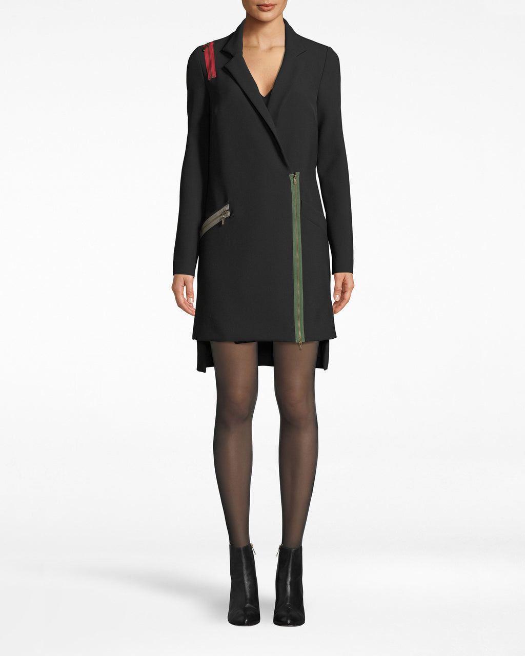 CD10091 - EXPOSED ZIPPERS BLAZER DRESS - dresses - short - Evening mode: on. Our Exposed Zippers add to the unexpectedness on this blazer dress. Long sleeves elongate the silhouette and an asymmetrical hem brings attention to the legs. The deep v neck wraps across the body.
