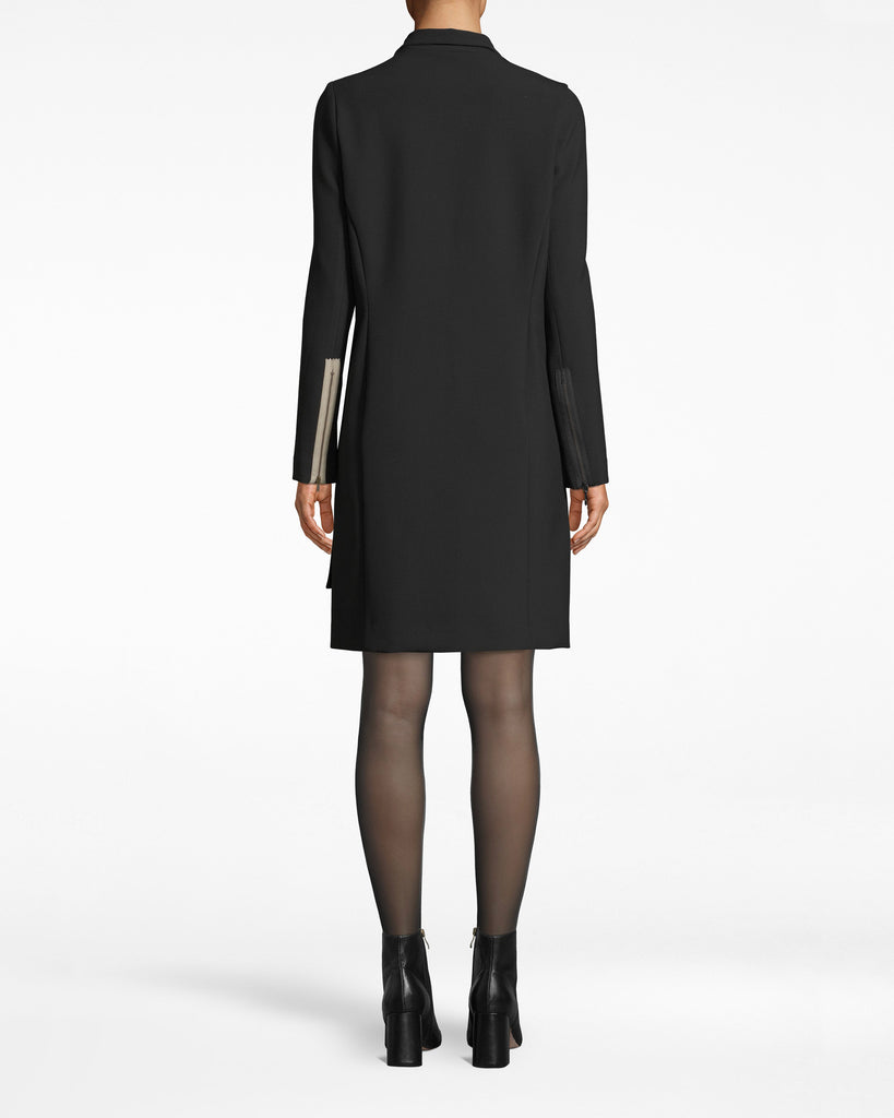 CD10091 - EXPOSED ZIPPERS BLAZER DRESS - dresses - short - Evening mode: on. Our Exposed Zippers add to the unexpectedness on this blazer dress. Long sleeves elongate the silhouette and an asymmetrical hem brings attention to the legs. The deep v neck wraps across the body. Alternate View