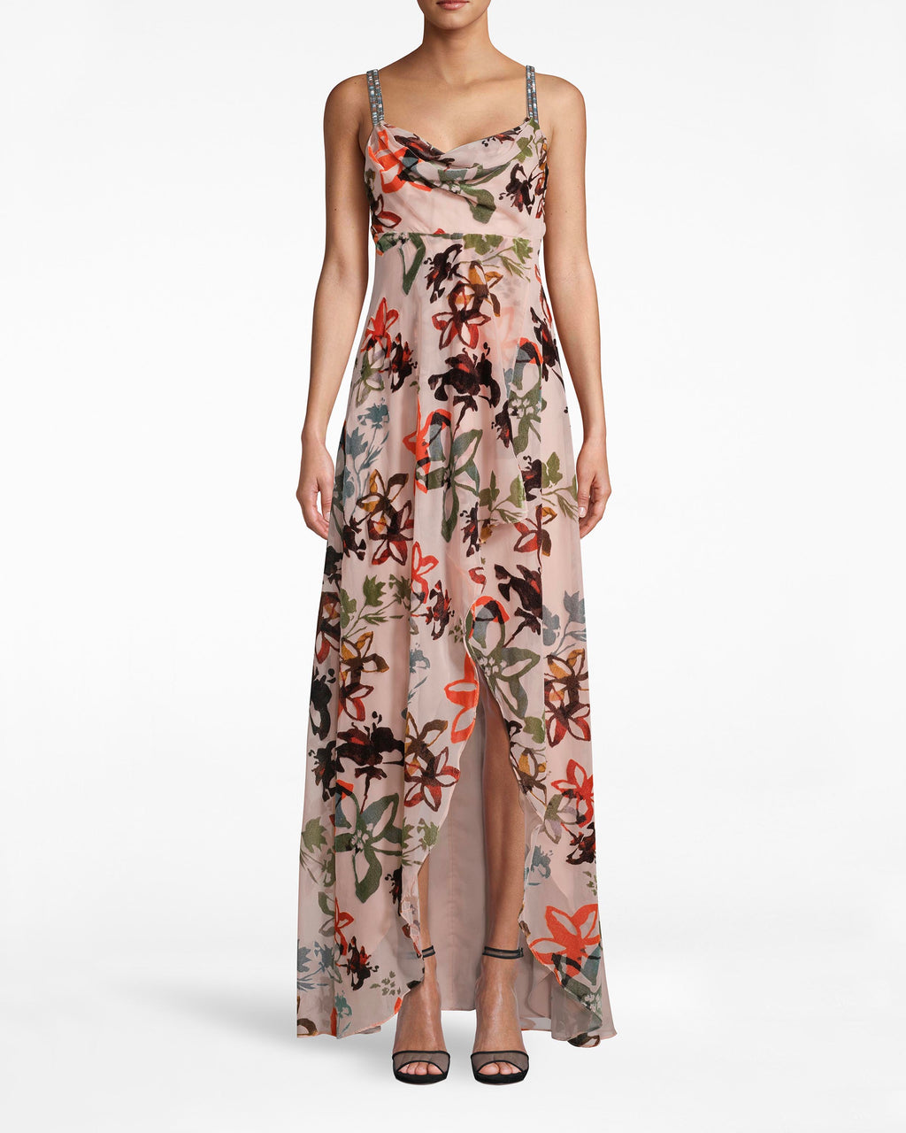 CD10092 - AUTUMN DREAM BURNOUT HI-LOW DRESS - dresses - long - Hi-Low can you go? The blooming print on this high-low dress is full of romance. The asymmetrical hem and bejeweled straps add the perfect dose of flair. Exposed back zipper for closure.