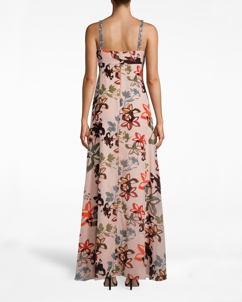 CD10092 - AUTUMN DREAM BURNOUT HI-LOW DRESS - dresses - long - Hi-Low can you go? The blooming print on this high-low dress is full of romance. The asymmetrical hem and bejeweled straps add the perfect dose of flair. Exposed back zipper for closure. Alternate View