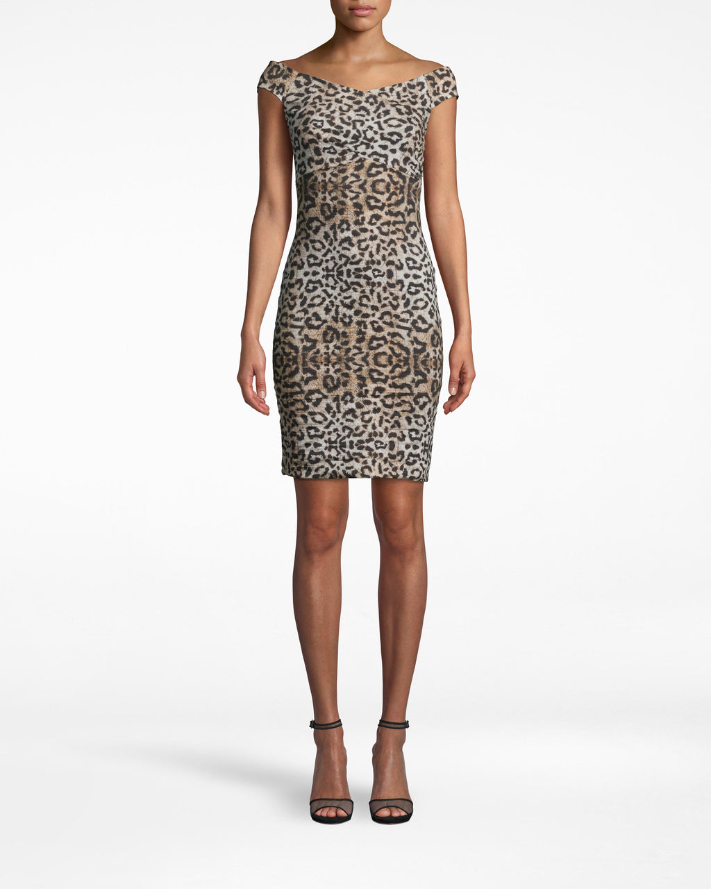 CD10094 - LEOPARD OFF THE SHOULDER DRESS - dresses - short - THIS MINI DRESS IS DESIGNED IN OUR ICONIC COTTON METAL - BUT THIS TIME IN A LEOPARD PRINT. DESIGNED IN A FIGURE HUGGING SILHOUETTE WITH A WRAPPED TOP FOR AN OFF THE SHOULDER LOOK. PAIR WITH SIMPLE JEWELRY AND HEELS.