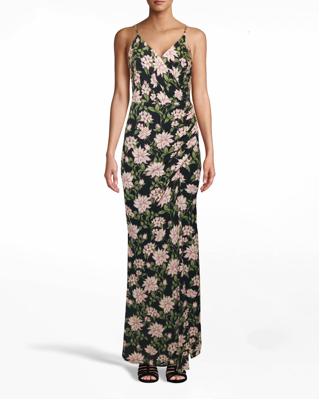 CD10098 - SPRING DREAM DRAPE GOWN WITH SILT - dresses - long - DREAM GOWN. CRAFTED IN OUR NEW SPRING DREAM PRINT WITH SPAGHETTI STRAPS AND A SIDE SLIT. THE HEMLINE HITS RIGHT AT THE ANKLE. FULLY LINED AND CONCEALED BACK ZIPPER FOR CLOSURE.
