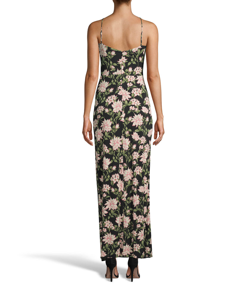 CD10098 - SPRING DREAM DRAPE GOWN WITH SILT - dresses - long - DREAM GOWN. CRAFTED IN OUR NEW SPRING DREAM PRINT WITH SPAGHETTI STRAPS AND A SIDE SLIT. THE HEMLINE HITS RIGHT AT THE ANKLE. FULLY LINED AND CONCEALED BACK ZIPPER FOR CLOSURE. Alternate View