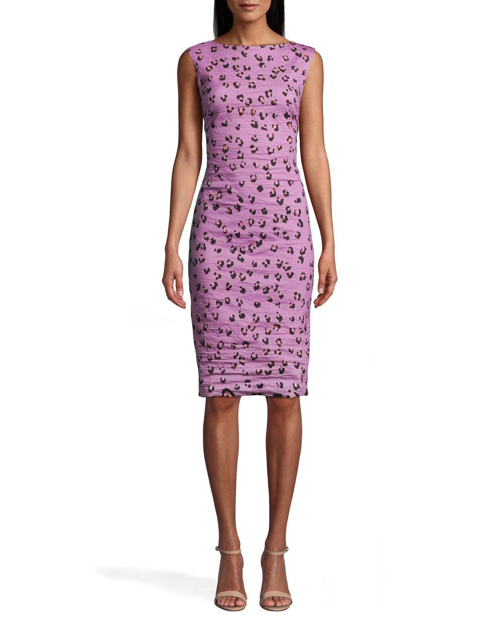 CD10102 - LILAC LEOPARD MIDI DRESS - dresses - midi - OUR ICONIC COTTON METAL IS REIMAGINED IN A LILAC LEOPARD PRINT. THIS CHIC SLEEVELESS SILHOUETTE HITS JUST ABOVE THE KNEE. BACK ZIPPER FOR CLOSURE. Add 1 line break STYLIST TIP: WEAR WITH NUDE SHOES AND STATEMENT EARRINGS.