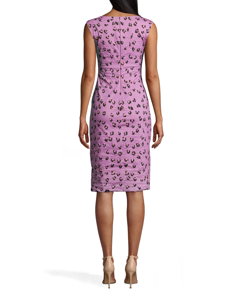 CD10102 - LILAC LEOPARD MIDI DRESS - dresses - midi - OUR ICONIC COTTON METAL IS REIMAGINED IN A LILAC LEOPARD PRINT. THIS CHIC SLEEVELESS SILHOUETTE HITS JUST ABOVE THE KNEE. BACK ZIPPER FOR CLOSURE. Add 1 line break STYLIST TIP: WEAR WITH NUDE SHOES AND STATEMENT EARRINGS. Alternate View