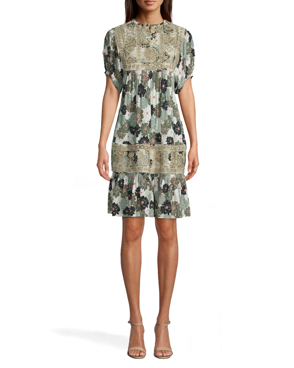 CD17956 - CAMO DELILAH SILK EMBROIDERED DRESS - dresses - short - THIS MINI DRESS IS MADE FROM LIGHTWEIGHT SILK AND PERFECTLY TRANSITIONS FROM SUMMER TO FALL. DESIGNED IN OUR NEW CAMO DELILAH PRINT WITH DELICATE EMBROIDERY. SLIGHT RUCHING DETAIL ON THE SLEEVES. Add 1 line break STYLIST TIP: WEAR WITH SANDALS IN THE SUMMER AND ANKLE BOOTS IN THE FALL.