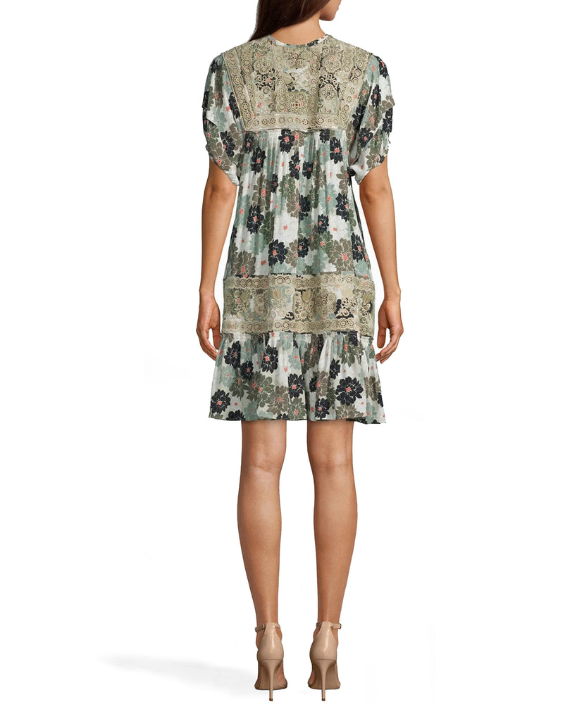 CD17956 - CAMO DELILAH SILK EMBROIDERED DRESS - dresses - short - THIS MINI DRESS IS MADE FROM LIGHTWEIGHT SILK AND PERFECTLY TRANSITIONS FROM SUMMER TO FALL. DESIGNED IN OUR NEW CAMO DELILAH PRINT WITH DELICATE EMBROIDERY. SLIGHT RUCHING DETAIL ON THE SLEEVES. Add 1 line break STYLIST TIP: WEAR WITH SANDALS IN THE SUMMER AND ANKLE BOOTS IN THE FALL. Alternate View