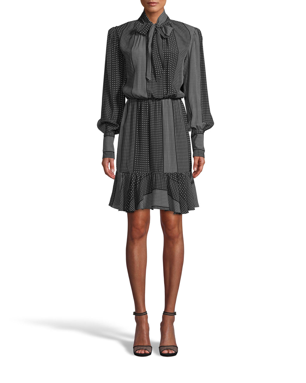CD18094 - KALEIDOSTRIPE SILK STOCK TIE FLOUNCE DRESS - dresses - short - Our new kaleidostripe fall print features geometric polka dots. This mini dress features a flounce hem, a tie front, and cuffed sleeves. Add 1 line break Stylist Tip: Wear with chunky black boots.