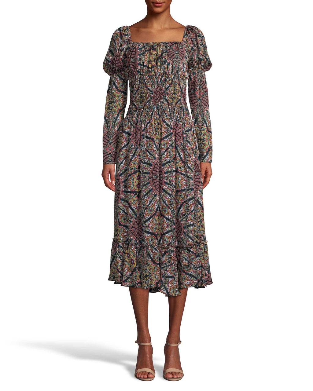 CD18184 - LABYRINTH SILK SMOCKED WAIST DRESS - dresses - long - Pull on this easygoing style for an effortless fall ensemble. Featuring a square neckline with puff sleeves, a smocked waistline and crystal front buttons. Add 1 line break Stylist tip: Style with chunky black boots like on our Fall 2020 Runway.