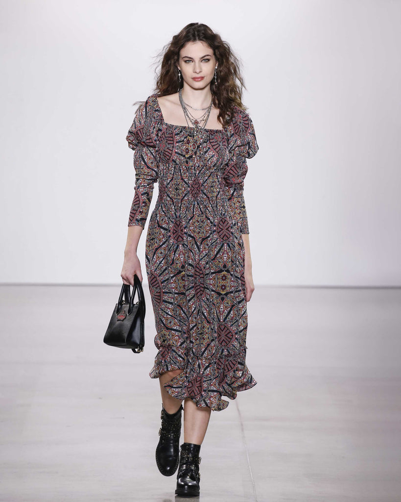 CD18184 - LABYRINTH SILK SMOCKED WAIST DRESS - dresses - long - Pull on this easygoing style for an effortless fall ensemble. Featuring a square neckline with puff sleeves, a smocked waistline and crystal front buttons. Add 1 line break Stylist tip: Style with chunky black boots like on our Fall 2020 Runway. Alternate View