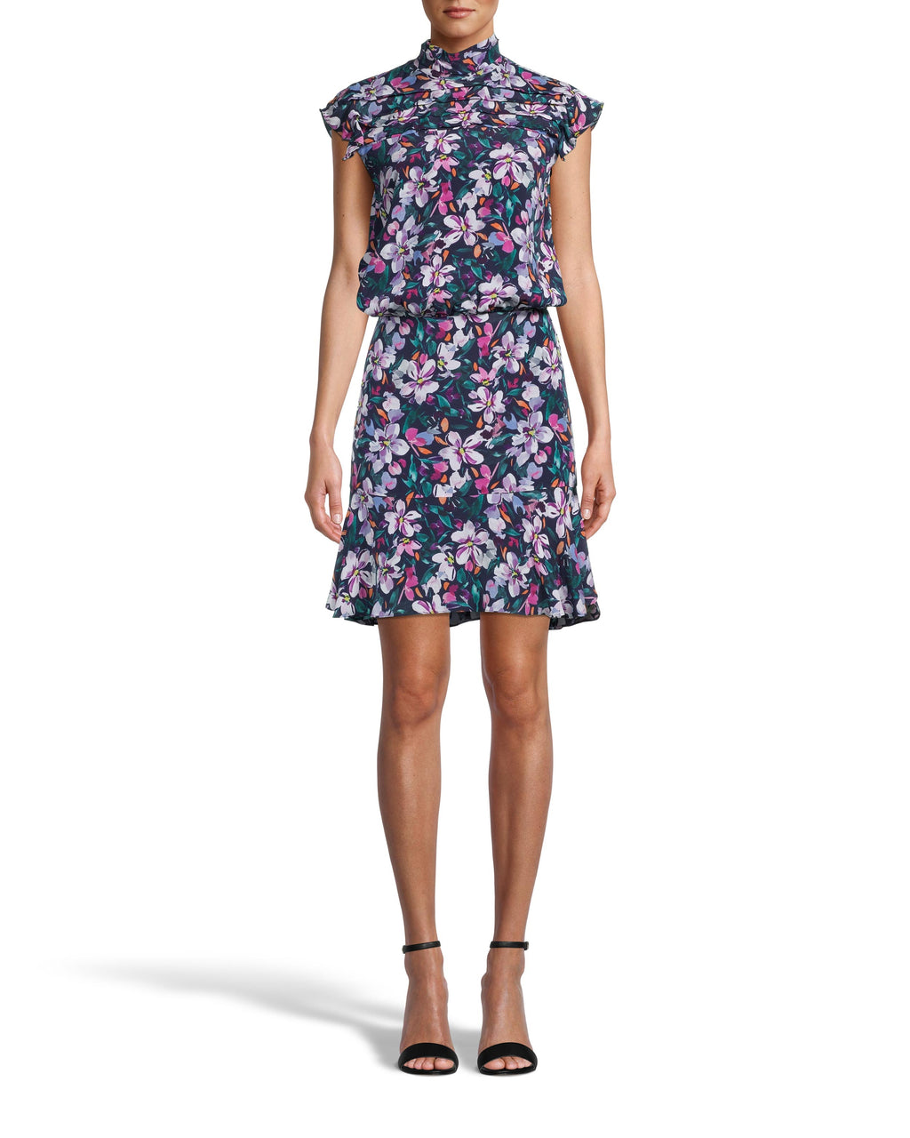 CD18357 - MIDNIGHT FLORAL HIGH NECK MINI DRESS - dresses - short - Meet the new perfect holiday mini. Designed in our bold midnight floral print, this flirty style features a mock neck with pleated details along the shoulders, a tucked waist and a ruffle hem. Add 1 line break Stylist tip: Style with pulled back hair, dangly earrings and neutral heels.