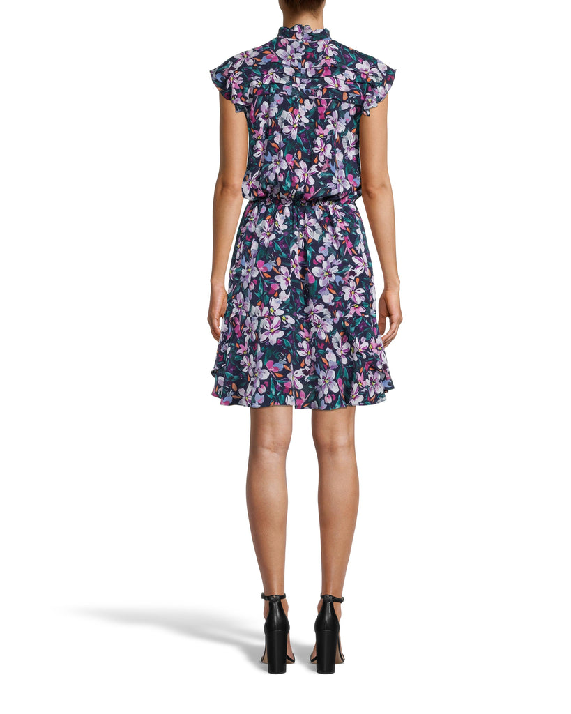 CD18357 - MIDNIGHT FLORAL HIGH NECK MINI DRESS - dresses - short - Meet the new perfect holiday mini. Designed in our bold midnight floral print, this flirty style features a mock neck with pleated details along the shoulders, a tucked waist and a ruffle hem. Add 1 line break Stylist tip: Style with pulled back hair, dangly earrings and neutral heels. Alternate View
