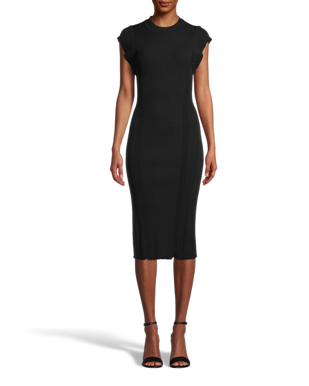 CD18434 - MOCK NECK OPEN BACK SHEATH DRESS - dresses - midi - LBD season. This modern style is designed in soft and flattering ribbed fabric. The understated mock neck leads into flared shoulders for added detail. This pull on piece features a subtle yet sexy open back. Add 1 line break Stylist tip: Pair with dangling earrings and strappy heels.