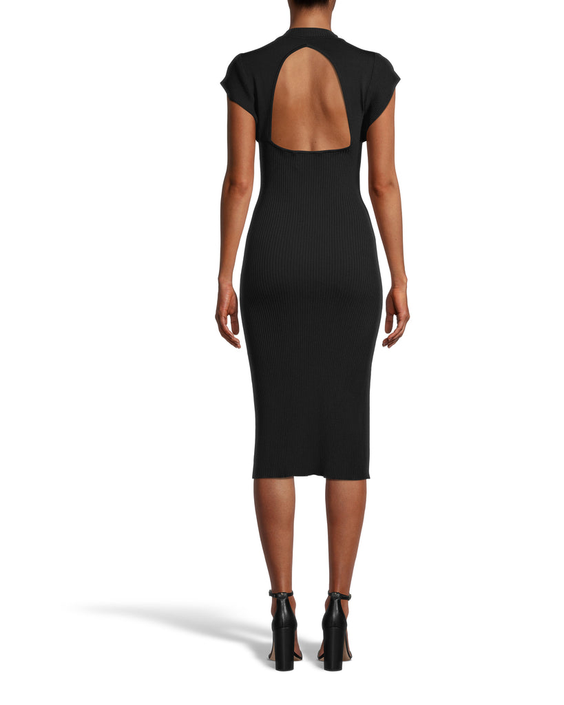 CD18434 - MOCK NECK OPEN BACK SHEATH DRESS - dresses - midi - LBD season. This modern style is designed in soft and flattering ribbed fabric. The understated mock neck leads into flared shoulders for added detail. This pull on piece features a subtle yet sexy open back. Add 1 line break Stylist tip: Pair with dangling earrings and strappy heels. Alternate View