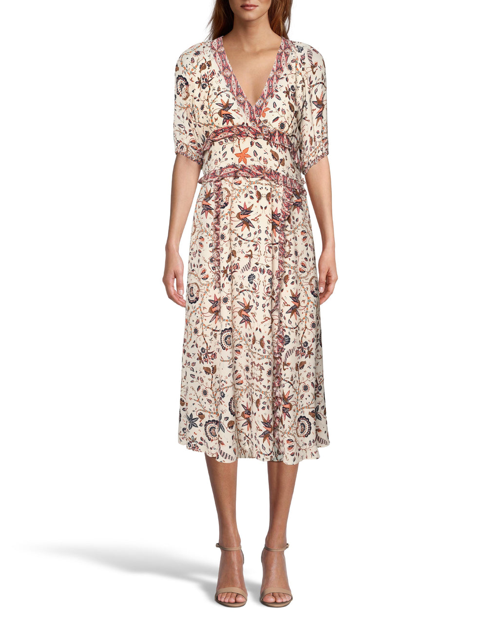 CD18486 - JAKARTA PRINT MIDI DRESS - dresses - midi - Balloon sleeves and ruffle details add dimension to this midi dress. Featuring a deep v-neckline, cuffed sleeves and contrasting prints. Add 1 line break Stylist Tip: Style with sandals or sneakers for a casual but cool look.