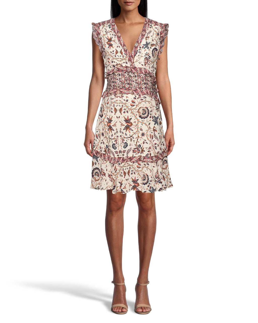 CD18489 - JAKARTA PRINT RUFFLE MINI DRESS - dresses - short - This sleeveless mini dress is designed in our earth toned jakarta print and features ruffle details throughout for movement. Concealed zipper for closure. Add 1 line break Stylist Tip: Style with knee high boots like in our Resort 2020 campaign.
