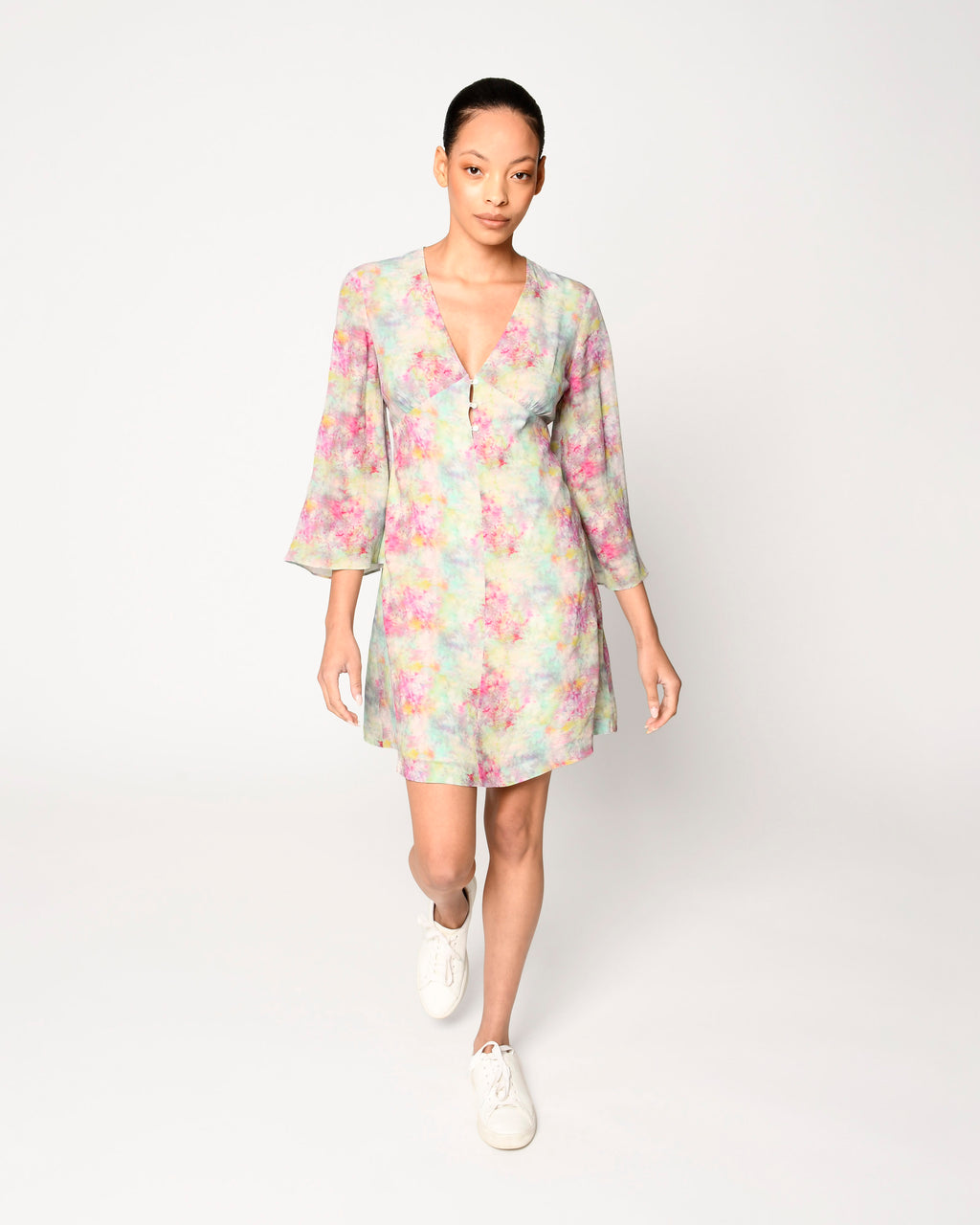 CD18747 - OPAL DYE BELL SLEEVE MINI DRESS - dresses - short - This mini dress is designed in an array of pastels in a crushed tie dye. Featuring breezy bell sleeves and subtle lace detailing. Add 1 line break Stylist Tip: Pair with white sandals.