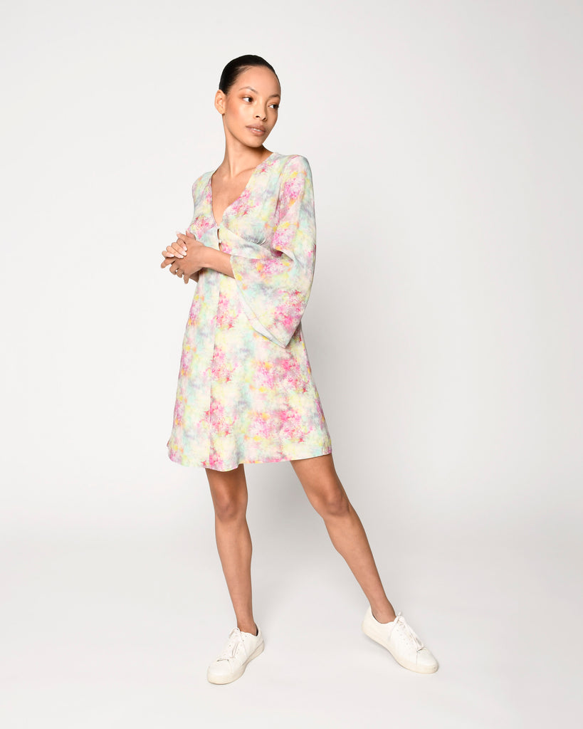 CD18747 - OPAL DYE BELL SLEEVE MINI DRESS - dresses - short - This mini dress is designed in an array of pastels in a crushed tie dye. Featuring breezy bell sleeves and subtle lace detailing. Add 1 line break Stylist Tip: Pair with white sandals. Alternate View