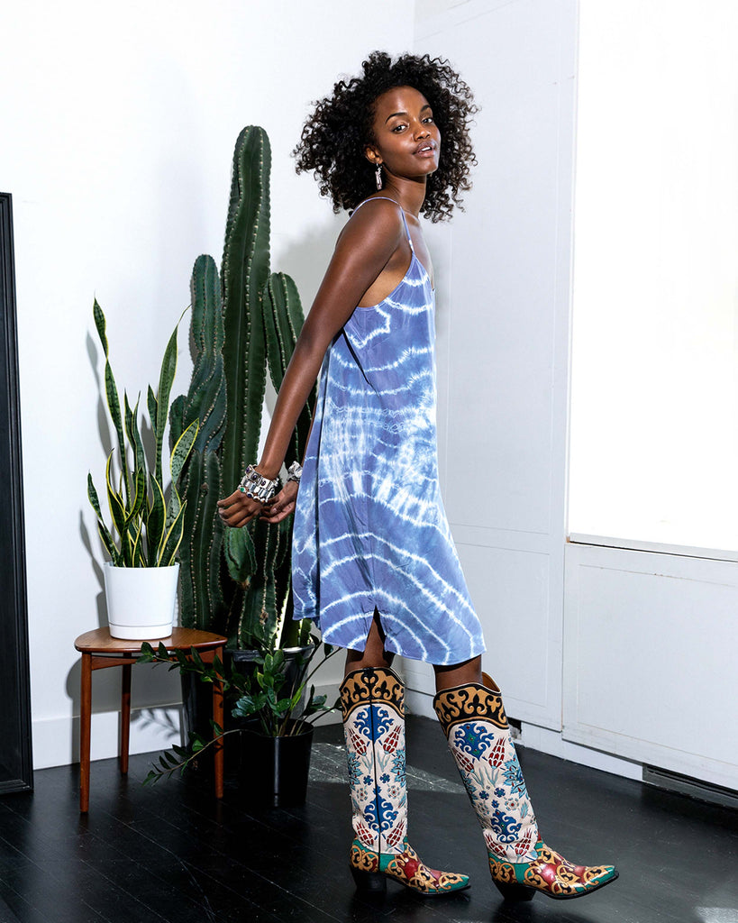 CD18749 - TIE DYE SLIP DRESS - dresses - midi - Slip into something easy. This effortlessly chic style can be styled endless ways to be on repeat all season long. Featuring adjustable straps and subtle side slits. Add 1 line break Stylist Tip: pair with everything from flip flops to knee high boots. Alternate View