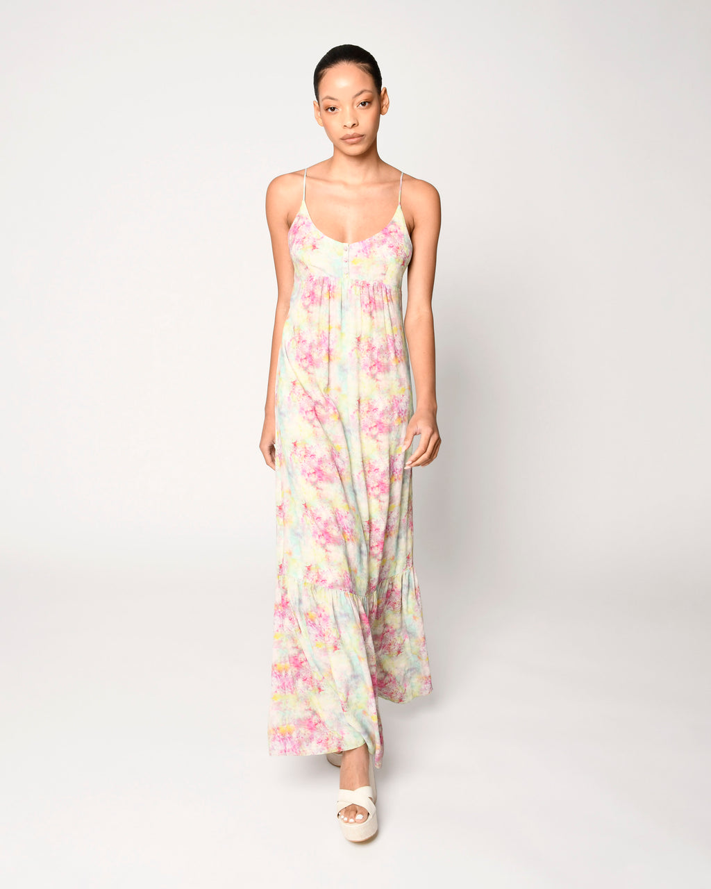 CD18802 - OPAL DYE MAXI DRESS - dresses - long - This whimsical maxi dress is designed in pretty pastel tie dye and hits just at the ankle. Add 1 line break Stylist Tip: Dress it up with wedges or down with sandals.