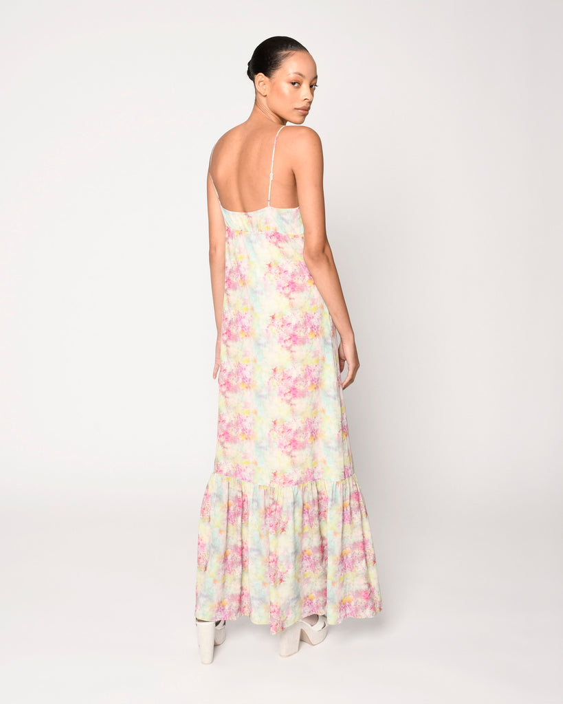 CD18802 - OPAL DYE MAXI DRESS - dresses - long - This whimsical maxi dress is designed in pretty pastel tie dye and hits just at the ankle. Add 1 line break Stylist Tip: Dress it up with wedges or down with sandals. Alternate View