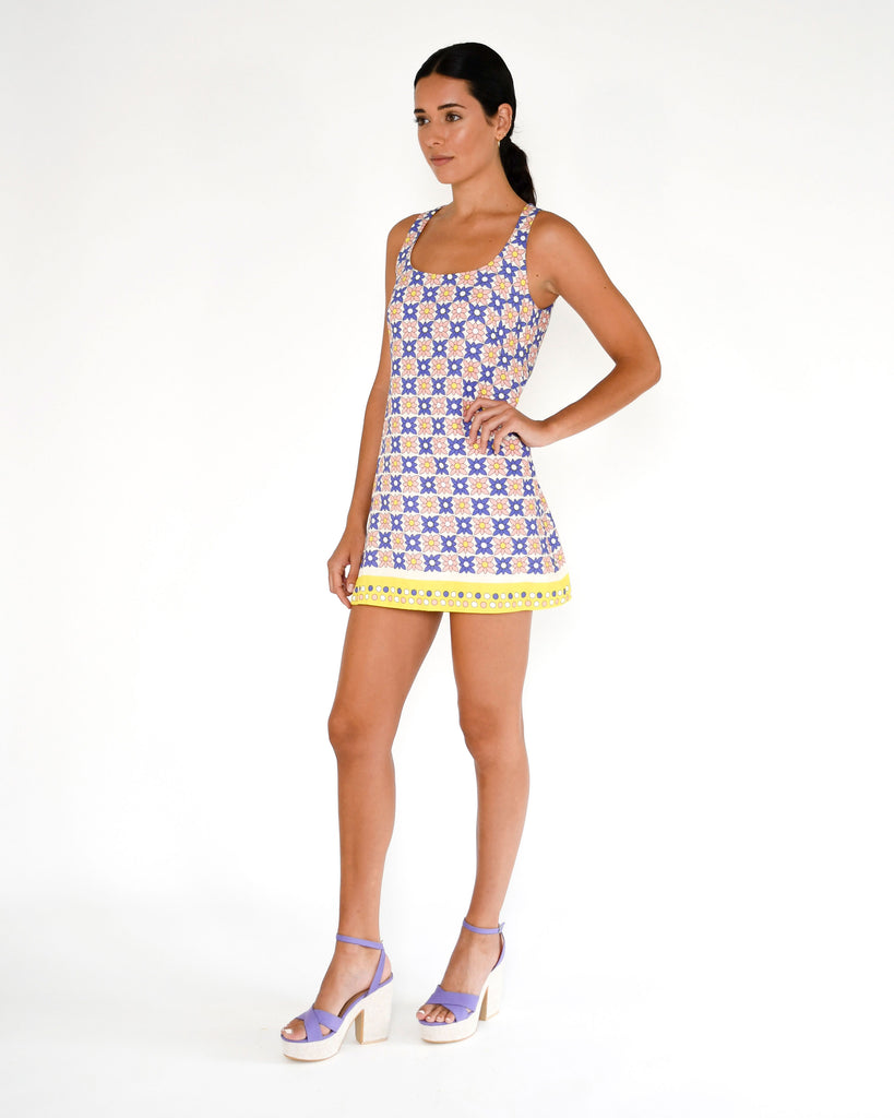 CD18868 - DAISY FIELD SCARF MINI DRESS - dresses - short - This mini shift dress is designed in our retro daisy field print for a fresh take on a classic style. ~!BRK Stylist Tip: Style with bold colored heels for a standout look. Alternate View