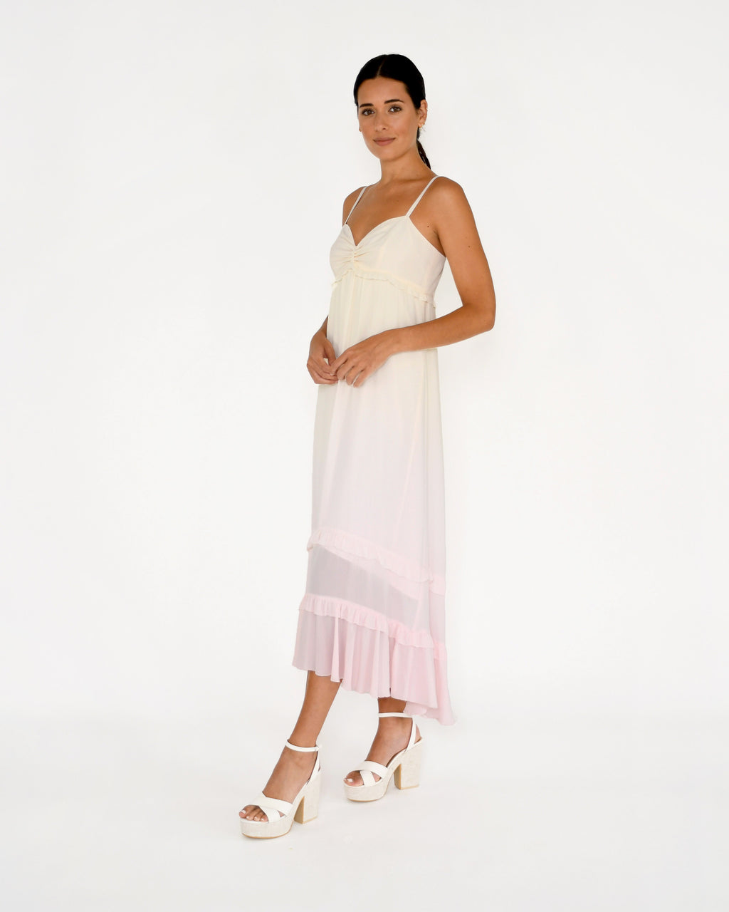 CD18965 - SORBET DIP DYE MAXI DRESS - dresses - midi - Our stunning sorbet maxi dress is hand dyed in a pink and yellow ombr�. Featuring adjustable straps, ruffle detailing and a feminine bodice. Add 1 line break Stylist Tip: Style with wedges or sandals.