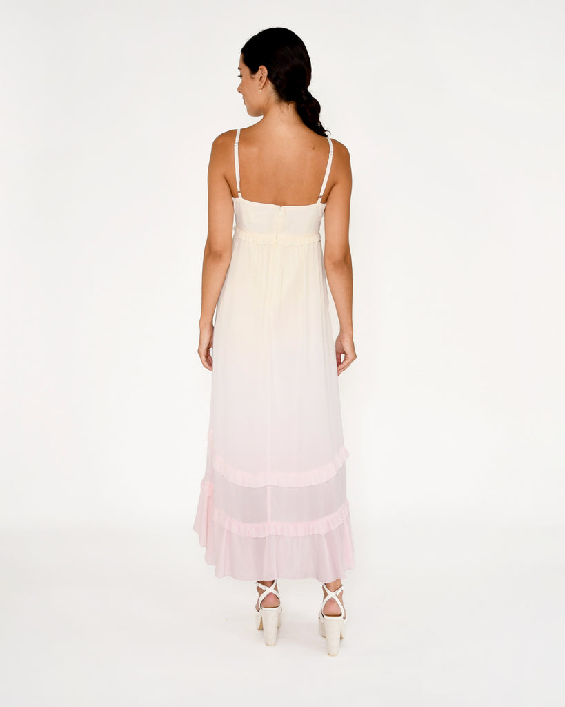 CD18965 - SORBET DIP DYE MAXI DRESS - dresses - midi - Our stunning sorbet maxi dress is hand dyed in a pink and yellow ombr�. Featuring adjustable straps, ruffle detailing and a feminine bodice. Add 1 line break Stylist Tip: Style with wedges or sandals. Alternate View