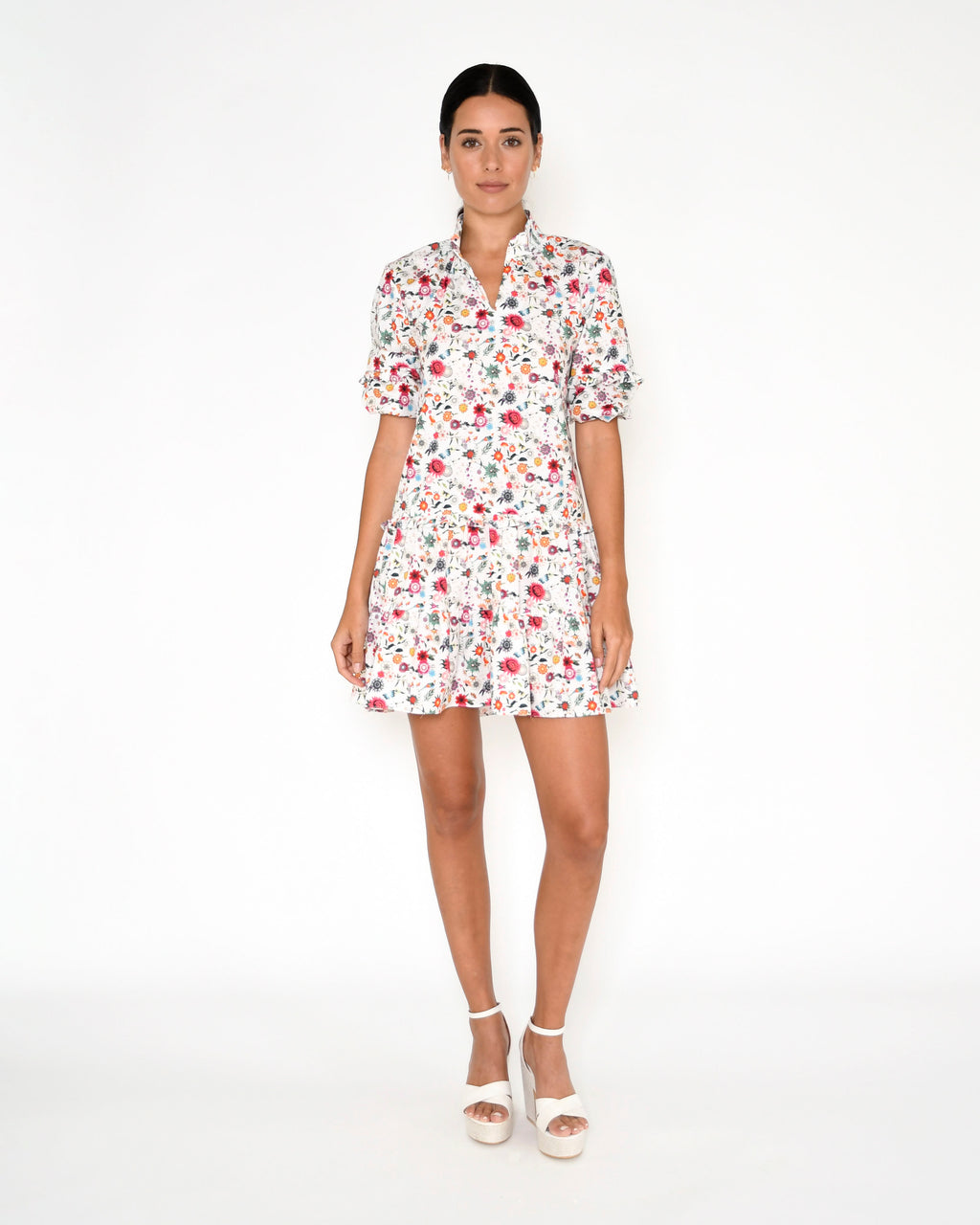 CD18988 - BERRY BOTANICAL RUFFLE MINI DRESS - dresses - short - This mini t-shirt dress is printed in our new berry botanical print and features a polo collar, puffed sleeves and ruffle details. Add 1 line break Stylist Tip: Wear with white sneakers.