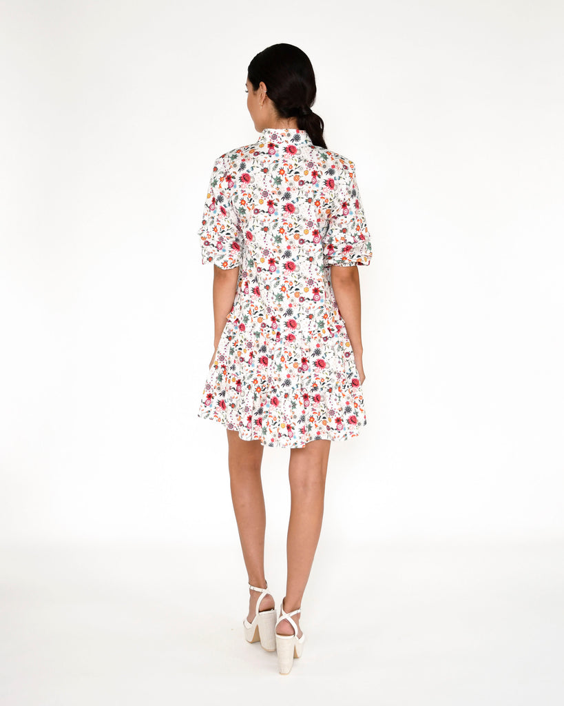 CD18988 - BERRY BOTANICAL RUFFLE MINI DRESS - dresses - short - This mini t-shirt dress is printed in our new berry botanical print and features a polo collar, puffed sleeves and ruffle details. Add 1 line break Stylist Tip: Wear with white sneakers. Alternate View