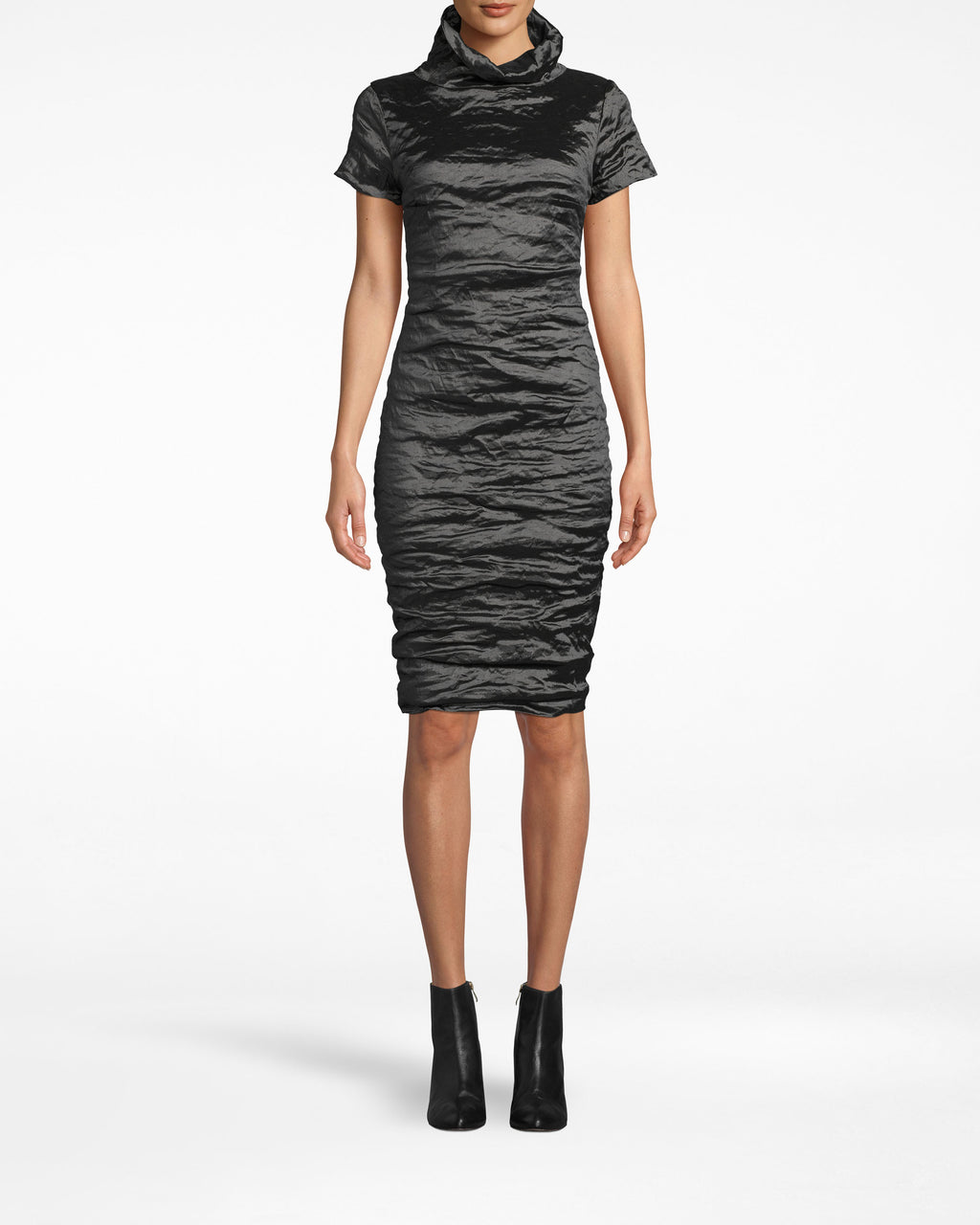 CD20036 - HIGH NECK DRESS - dresses - short - The gathered high neck on this textured short sleeve dress lengthens the silhouette. The dress is fitted throughout and hugs your curves. Pair with elegant high heels. The exposed back zipper extends to the collar.
