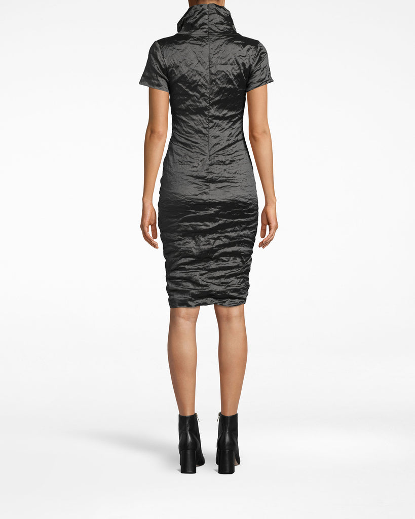 CD20036 - HIGH NECK DRESS - dresses - short - The gathered high neck on this textured short sleeve dress lengthens the silhouette. The dress is fitted throughout and hugs your curves. Pair with elegant high heels. The exposed back zipper extends to the collar. Alternate View