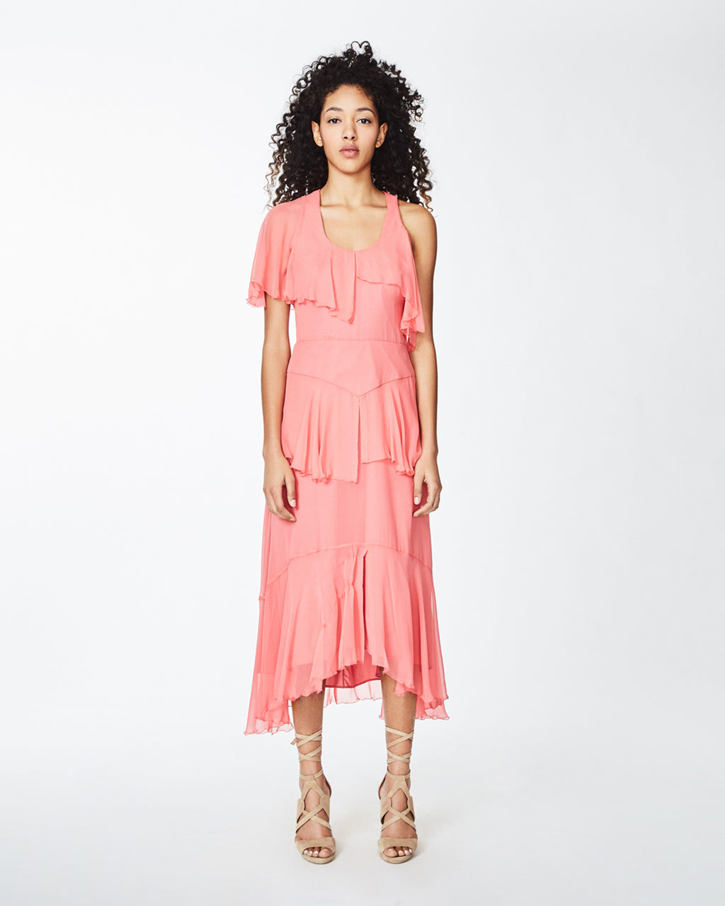 CE10115 - one shoulder asymmetrical dress - dresses - midi - Ruffles everywhere, please. In a darling coral hue, this mini dress has ruffled tiers throughuot the body and moves into a high-low hemline. Concealed zipper for closure. Final Sale